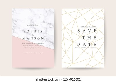 Marble Wedding invitation. Design with Luxury Marbling Golden and Geometric shape pattern. Can be adapt to covers design, RSVP, brochure, Packaging, Magazine, Poster and Greeting cards. Vector
