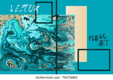 Marbled blue and gold abstract background. Liquid marble pattern. Vector fluid texture. Business template design.
