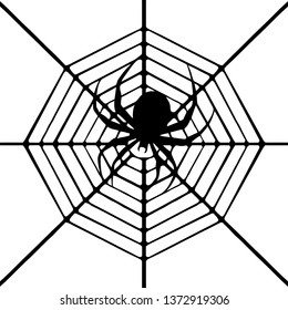 Marbled Orb Weaver Spider in Web Clipart