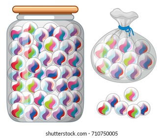 Marbles in glass jar and bag illustration