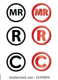 """Marca Registrada"" in Spanish, Registred, and copyright icons"