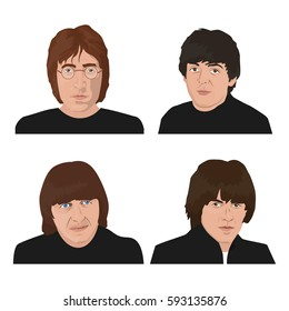 March 05, 2017: editorial vector illustration of the Beatles band members on white background. World Beatles Day topic (January 16).