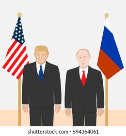 March 06, 2017: editorial vector illustration of the portraits of the Russian Federation President Vladimir Putin and the USA President Donald Trump on American and Russian flags background.