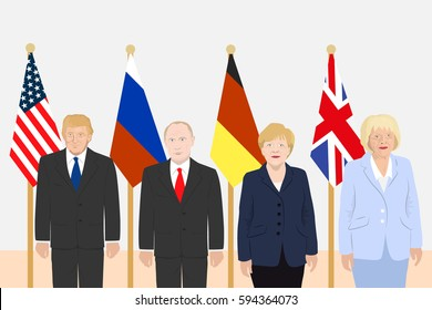 March 06, 2017: editorial vector illustration of Russian President Vladimir Putin, the USA President Donald Trump, the Chancellor of Germany Angela Merkel, the Prime Minister of the UK Theresa May.