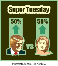 March 1, 2016: A vector illustration of a portrait of Presidential Candidates Donald Trump and Hillary Clinton for show result of elections