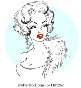 MARCH 1, 2017: A vector illustration of a portrait of Marilyn Monroe. Cartoon portrait isolated, vector editorial.