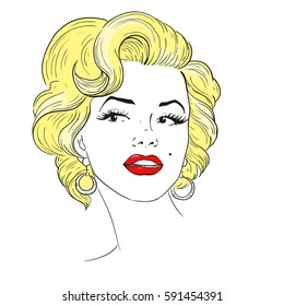 MARCH 1, 2017: A vector illustration of a portrait of Marilyn Monroe. Cartoon portrait isolated, vector editorial. Monroe, superstar, idol, actress, singer, sexy woman.