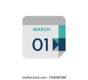 March 1 flat daily calendar date, 1 March Single Day Calendar  Icon
