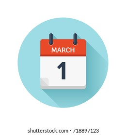March 1. Vector flat daily calendar icon. Date and time, day, month 2018. Holiday. Season.