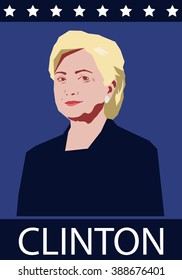 March 10, 2016: vector illustration of a portrait of Hilary Clinton