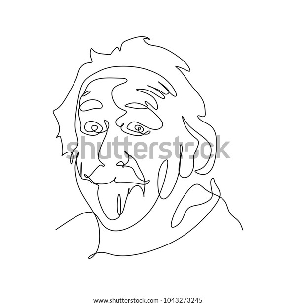 March 11, 2018: Portrait continuous line drawing face of Albert Einstein.