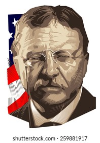 March 12, 2015: A vector illustration of a portrait of the twenty-sixth President of USA Theodore Roosevelt on an engraved background.