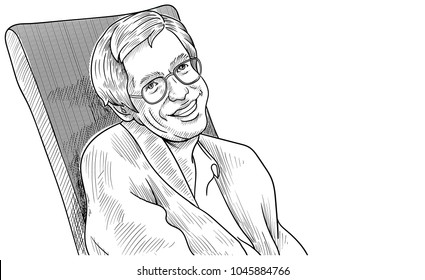 March 14, 2018: A vector illustration of a portrait of Stephen Hawking