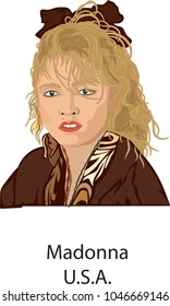 March 15, 2018, Illustration vector isolated of Madonna, U.S.A.