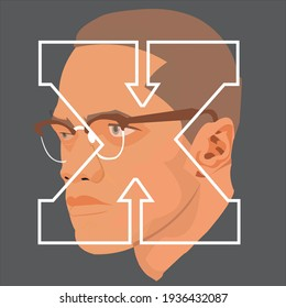 March 15, 2021: Vector flat illustration of Malcolm X or Malik El Shabazz, African American Muslim activist. Artwork derived from free image by Unseen Histories on Unsplash
