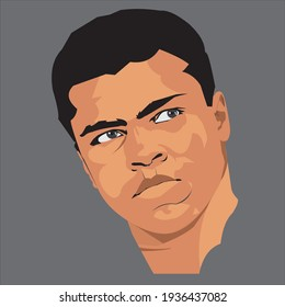 March 15, 2021: Vector flat illustration of Muhammad Ali or Cassius Clay, a legendary Muslim boxer and activist. Artwork derived from a public domain image on Wikimedia Commons