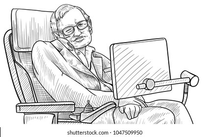 March 16, 2018: A vector illustration of a portrait of Stephen Hawking
