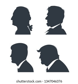 March 16, 2019: Facial profiles presidents of United States. Set of silhouettes George Washington, Abraham Lincoln, John F. Kennedy and Donald Trump.