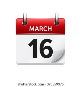 March 16. Vector flat daily calendar icon. Date and time, day, month. Holiday.