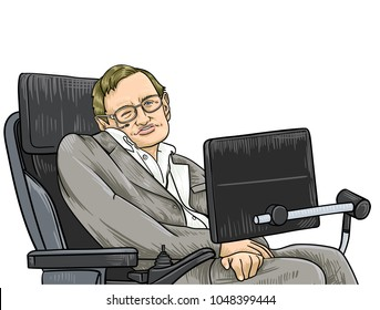 March 18, 2018: A vector illustration of a portrait of Stephen Hawking