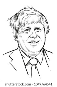 March 19, 2018. Secretary of State for Foreign and Commonwealth Affairs Boris Johnson. Vector illustration.