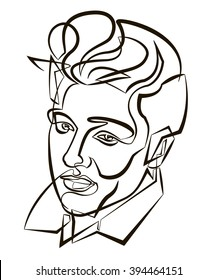 March 20, 2016: A vector linear illustration of a portrait of singer Elvis Presley on a white background.