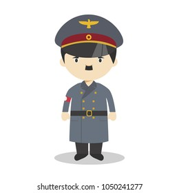 March 20, 2018: Adolf Hitler cartoon character. Vector Illustration. Kids History Collection.
