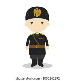 March 20, 2018: Benito Mussolini cartoon character. Vector Illustration. Kids History Collection.