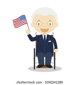 March 20, 2018: Franklin D Roosevelt cartoon character. Vector Illustration. Kids History Collection.