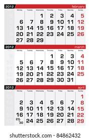 March 2012 Three-Month Calendar