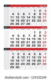 March 2013 Three-Month Calendar