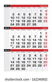 March 2014 Three-Month Calendar