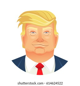 March 2017: Caricature character illustration of president Donald Trump