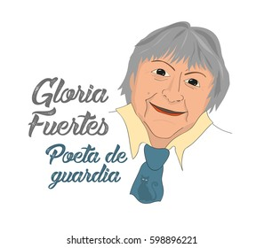 March, 2017: Gloria Fuertes, the poet, a vector linear illustration of a portrait of the spanish writer, in his 100th anniversary of his birthday