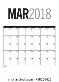 March 2018 blank calendar page