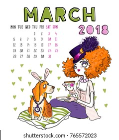 March. 2018 calendar. Cute girl with dog. Can be used like greeting cards.