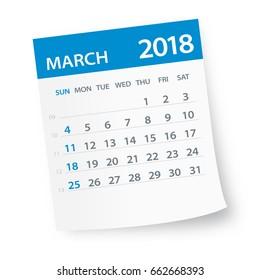 March 2018 Calendar Leaf - Vector Illustration