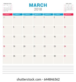march 2018 calendar planner vector design template week starts on sunday stationery design