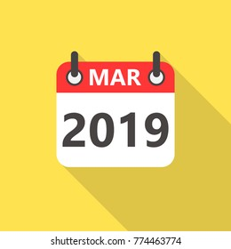 March 2019 calendar flat style icon with long shadow.
