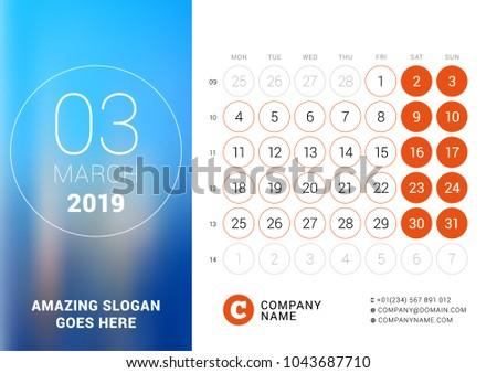 March 2019 Desk Calendar 2019 Year Stock Vector Royalty Free