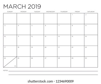 March 2019 Minimal Horizontal One Month Calendar Page