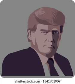 March, 2019: Portrait of Donald Trump. Vector illustration Editorial use only - Vector