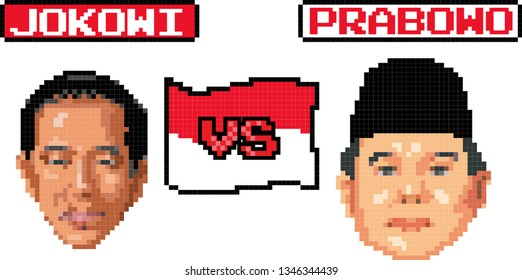 March 2019, President Jokowi and his challenger in this year's presidential election Prabowo, in 8 bit - vector