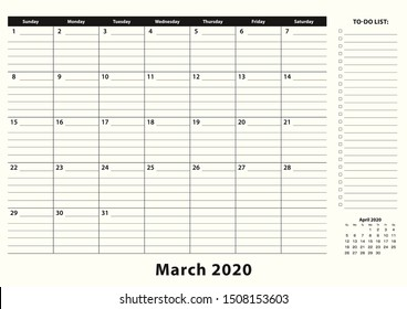 March 2020 Monthly Business Desk Pad Calendar. March 2020 calendar planner with to-do list and place for notes in black and white design.