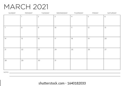 March 2021 Single Month Calendar Page Fits 11x17 Inch Print Modern Blank Template
