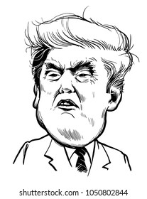 March 21, 2018: Portrait of Donald Trump. Editorial use only. Vector illustration.