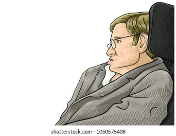 March 21, 2018: A vector illustration of a portrait of Stephen Hawking