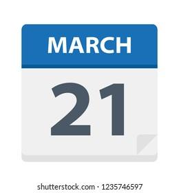 March 21 - Calendar Icon - Vector Illustration