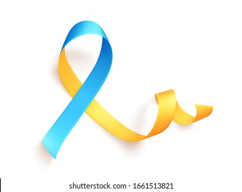 March 21 is the International Day of Man with Down Syndrome. The yellow-blue ribbon is a symbol of the movement for disseminating information about down syndrome. Vector illustration