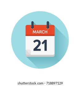 March 21. Vector flat daily calendar icon. Date and time, day, month 2018. Holiday. Season.